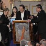 From left: Jaroslava Válová, General Director, Siko bathrooms Corp., successful bidder of painting by Karel Gott, which was auctioned for 180.000 CZK; Karel Gott, Singer and author of the painting; Miro Smolák